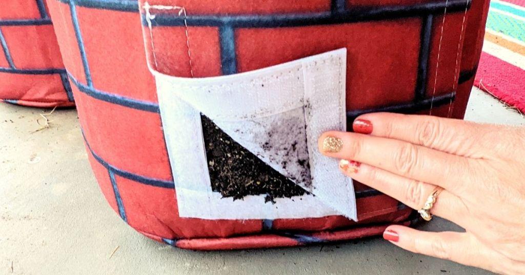 garden grow bags side flap open revealing soil