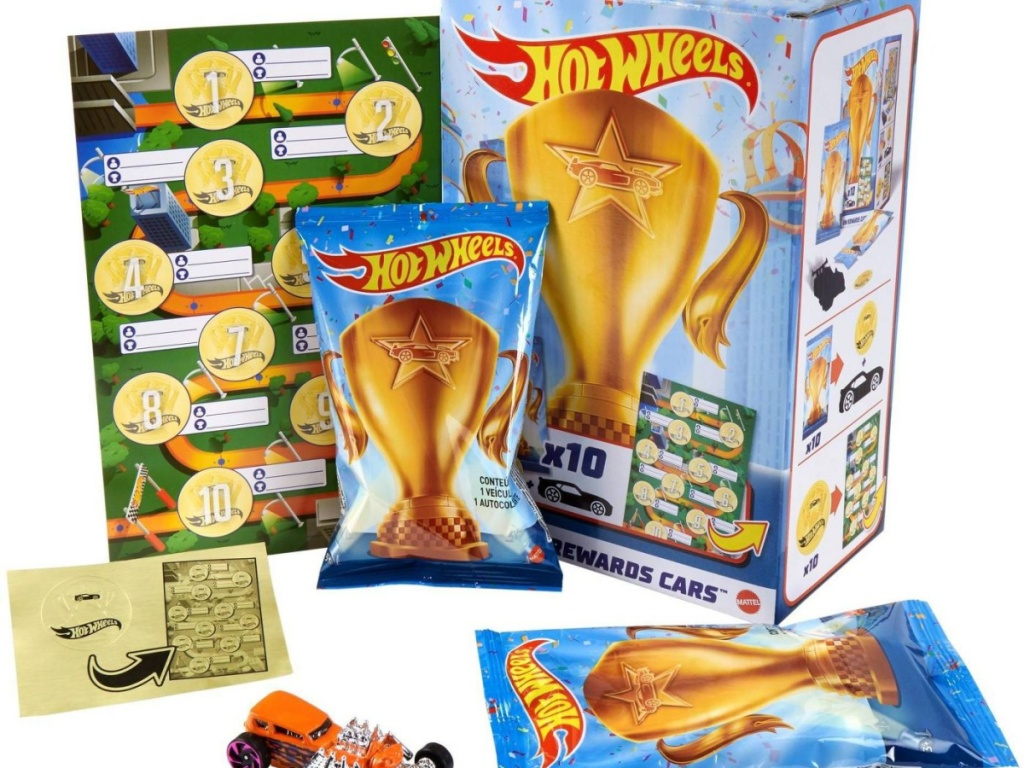 set of packaged Hot Wheels cars