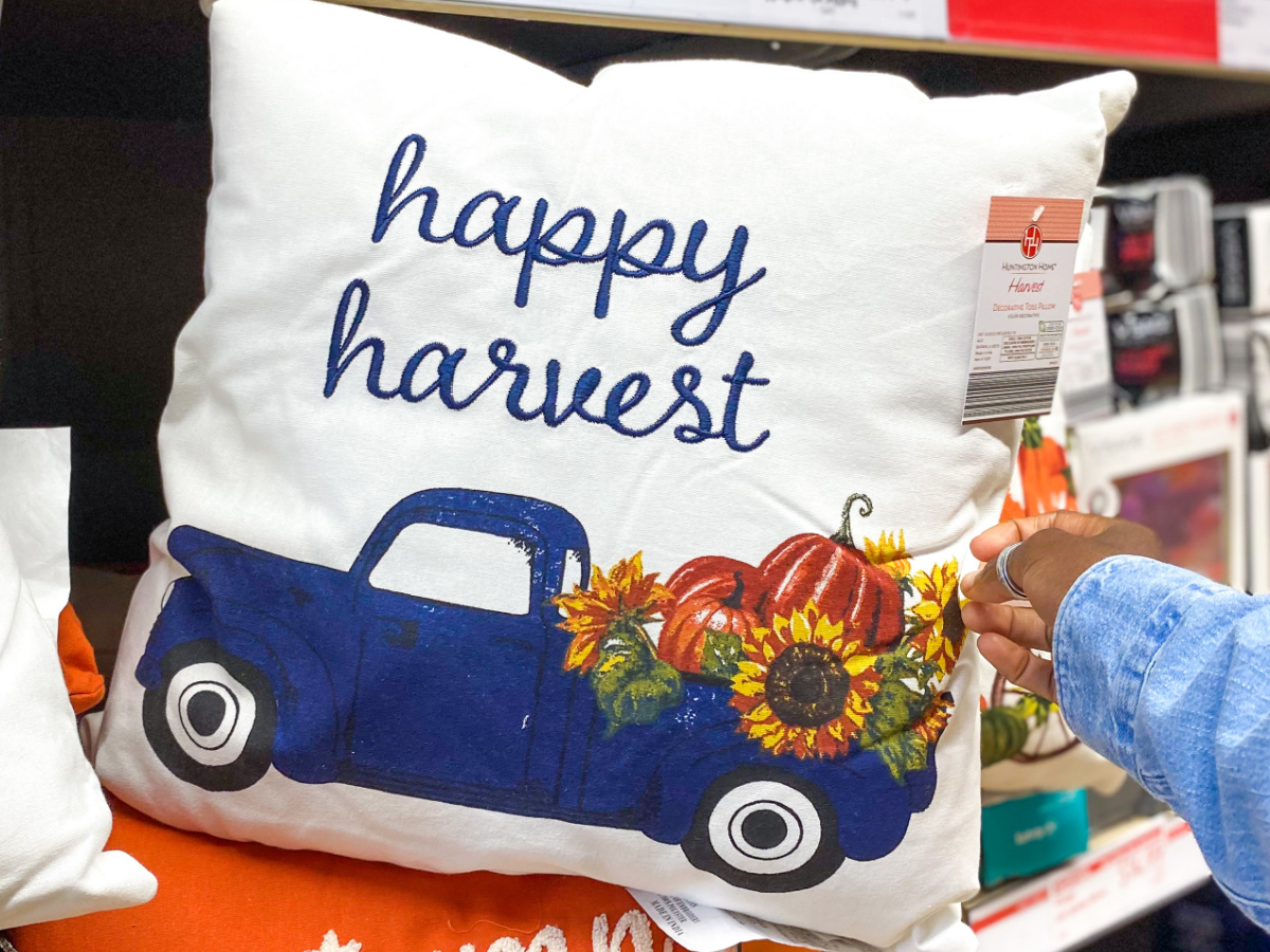 hand showing throw pillow with blue truck on it