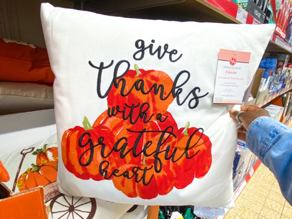 hand holding throw pillow decorated with pumpkins
