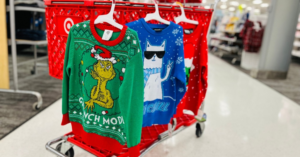 kids christmas sweaters in store on target cart