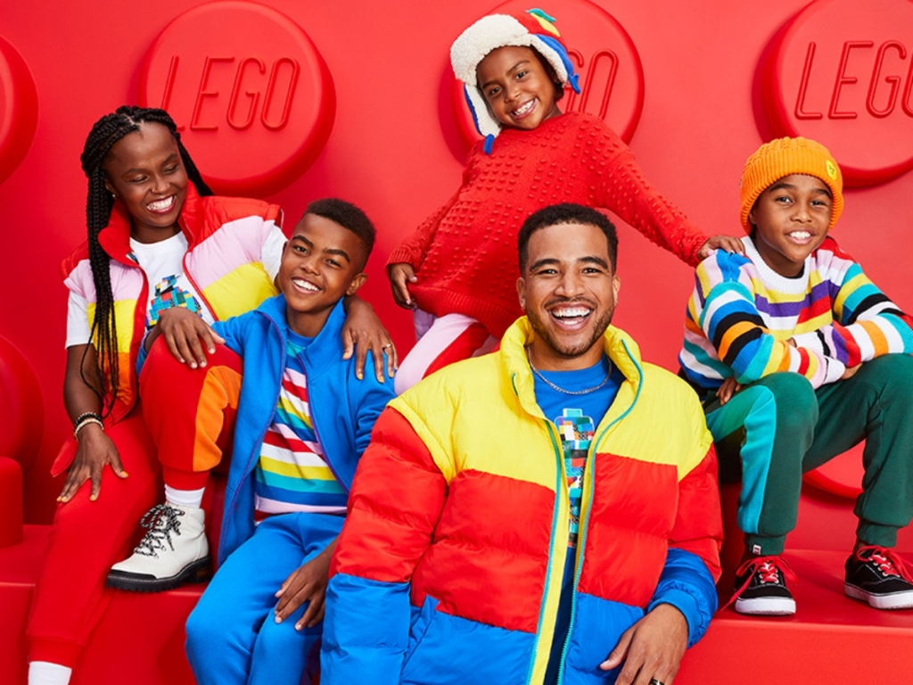 family wearing LEGO-inspired clothing