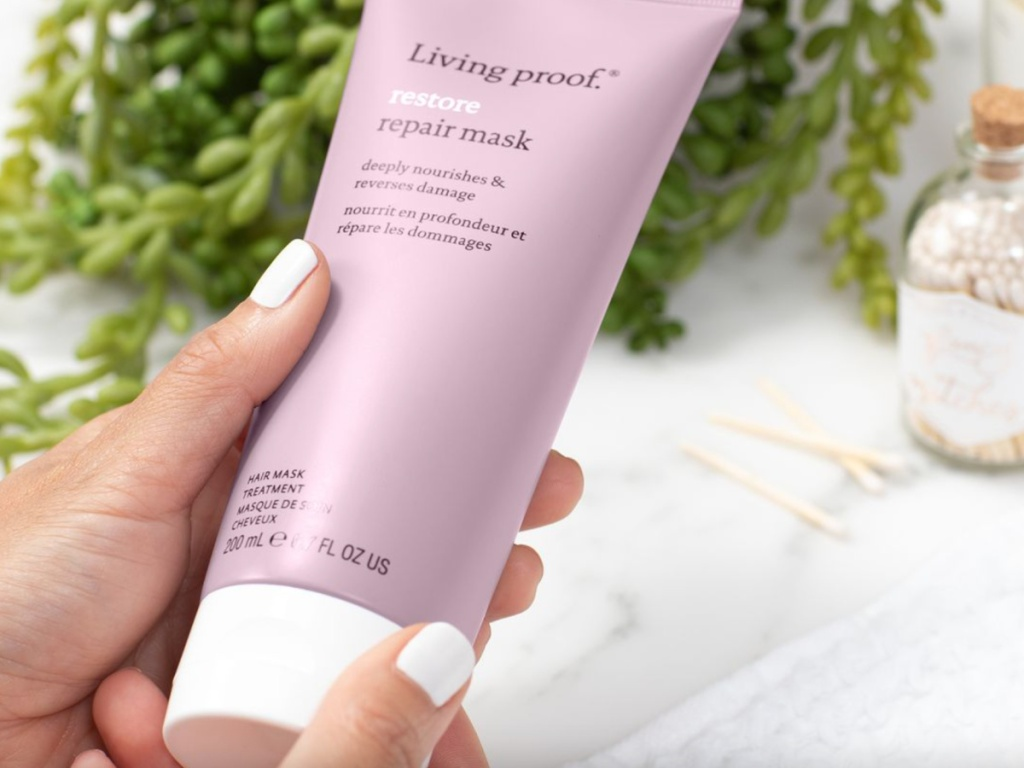 living proof hair mask in hand