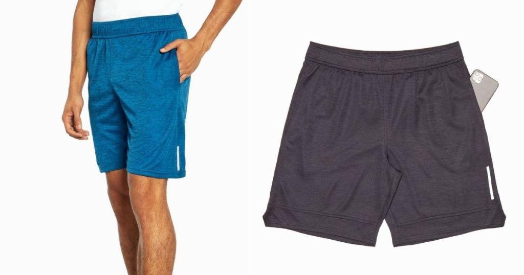 long and short blue shorts