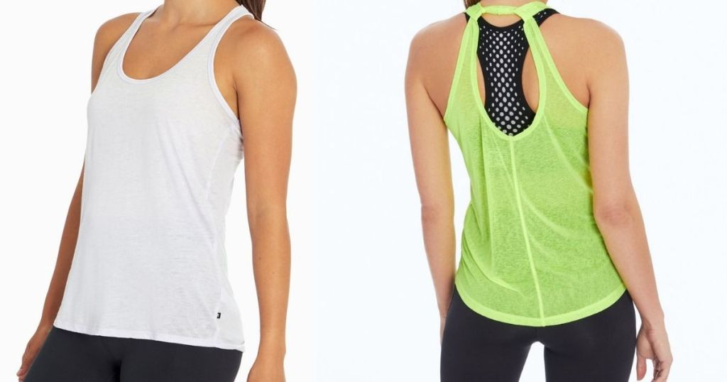 women wearing white and neon green tank tops