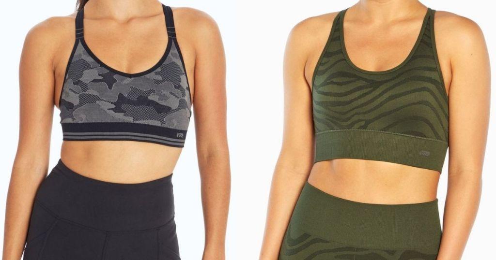 women wearing gray and green sports bras