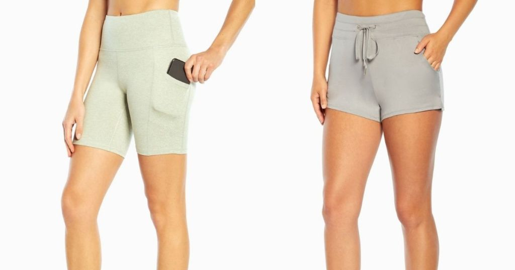 woman wearing green and gray workout shorts