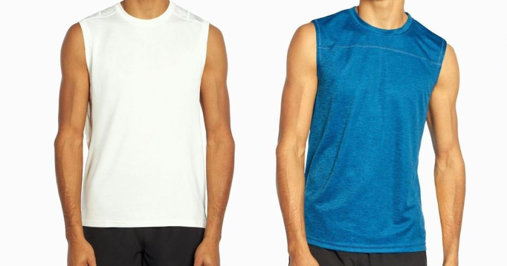 men wearing white and blue tank tops