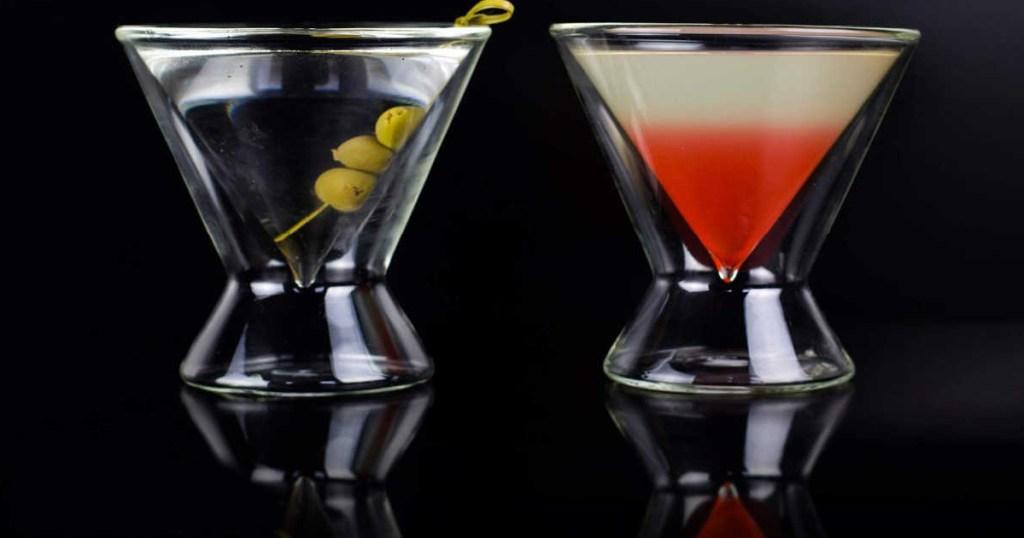 set of 2 martini glasses
