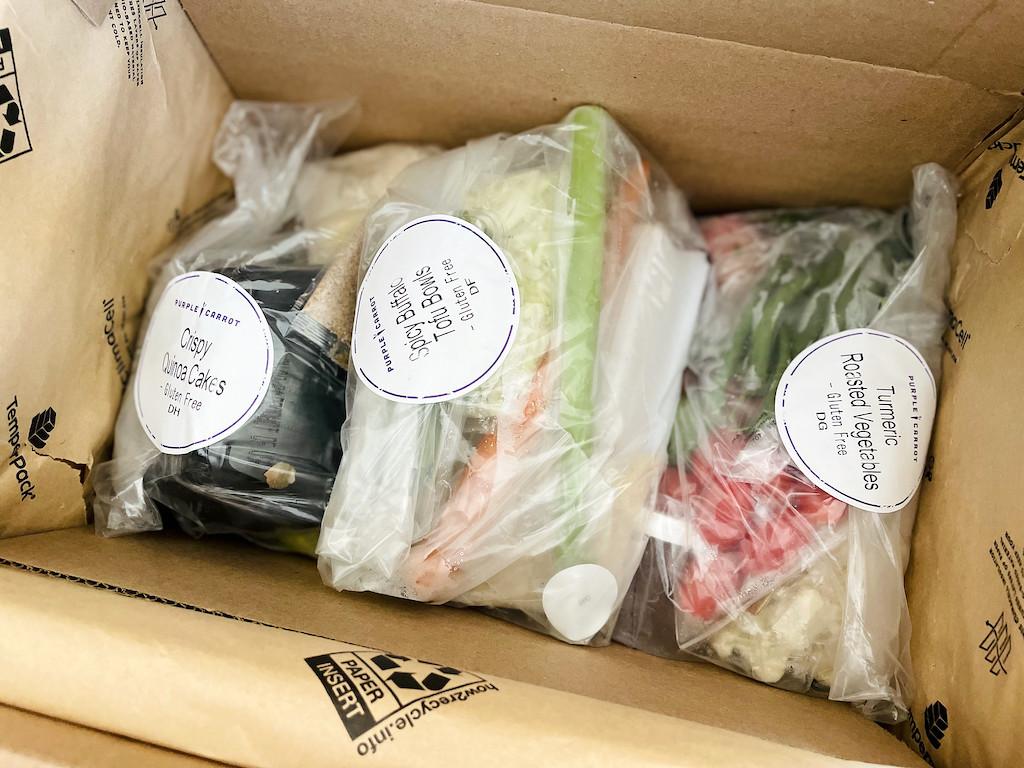 vegan meals packaged in Purple Carrot Box