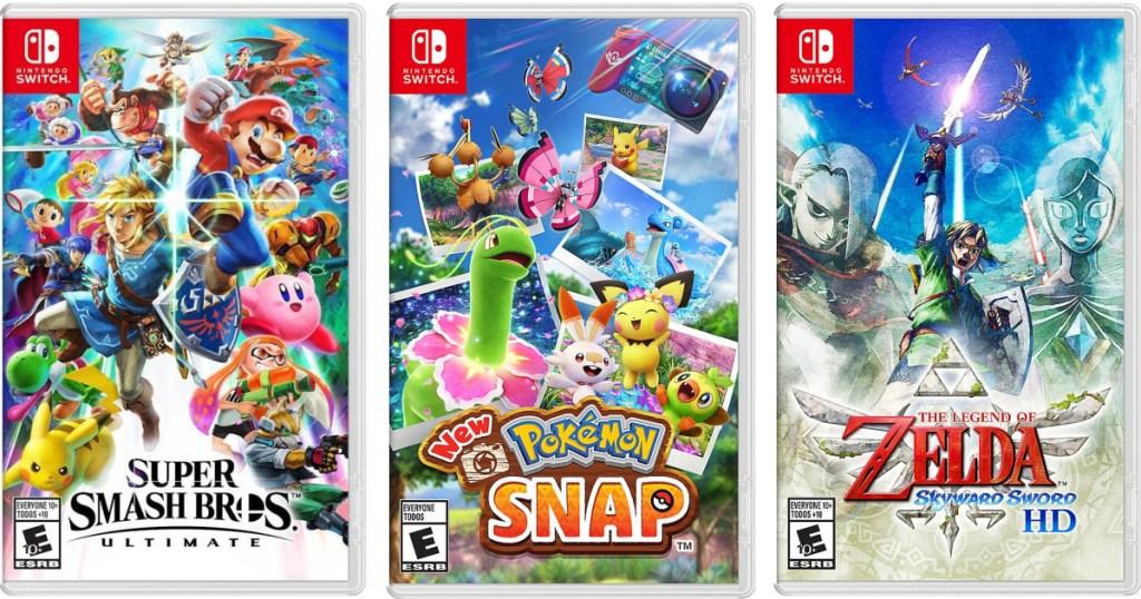 three nintendo switch games