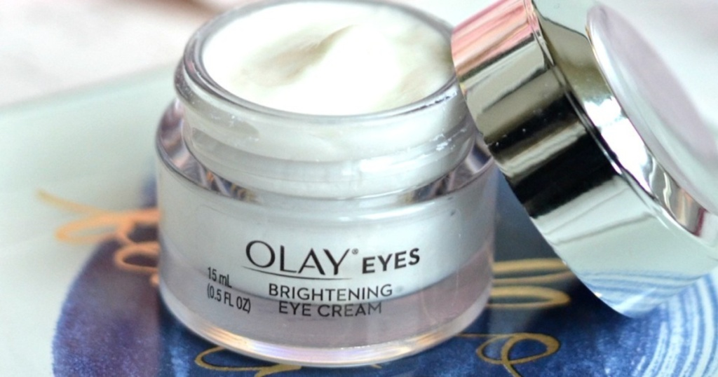olay brightening eye cream with lid off