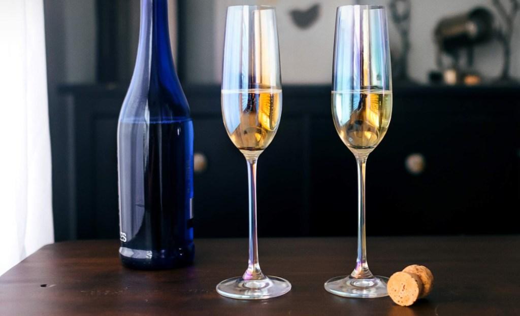 set of 2 rainbow champagne glasses