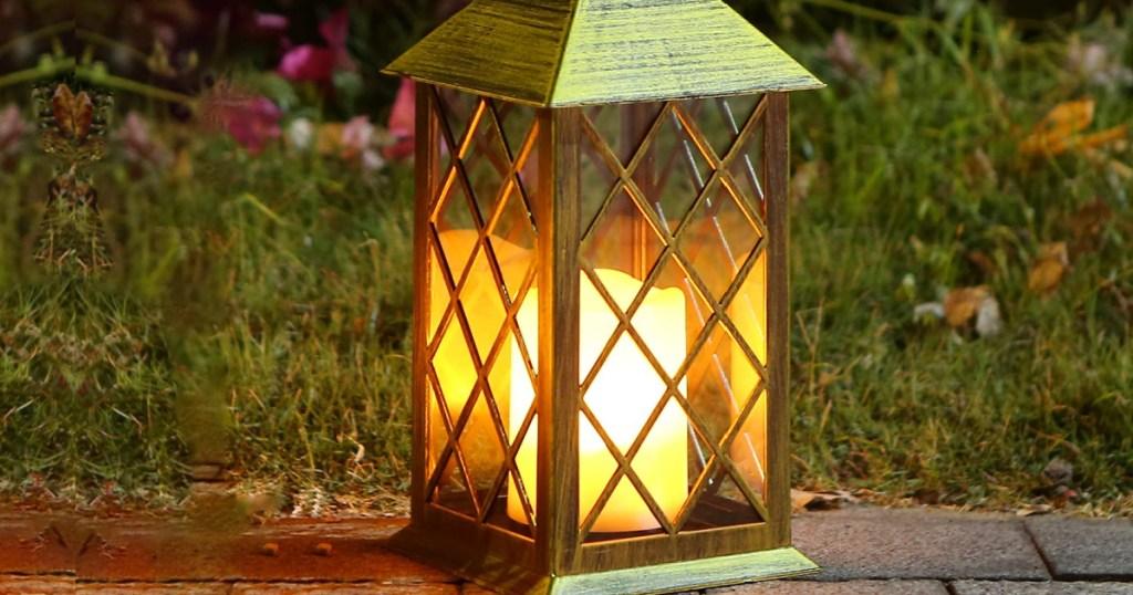Solar-powered Lantern W/ Flickering Led Candle Conscionable $15.59 Shipped On Amazon