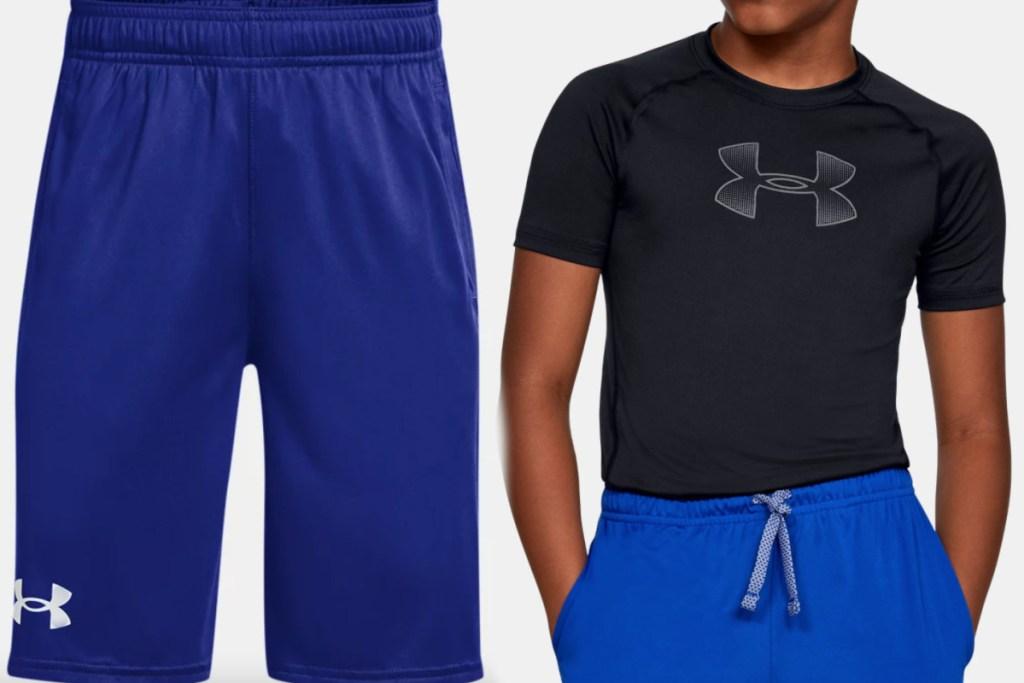 under armour boys shorts + tee