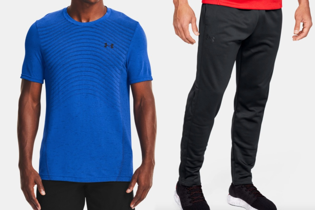 under armour mens tee + pants