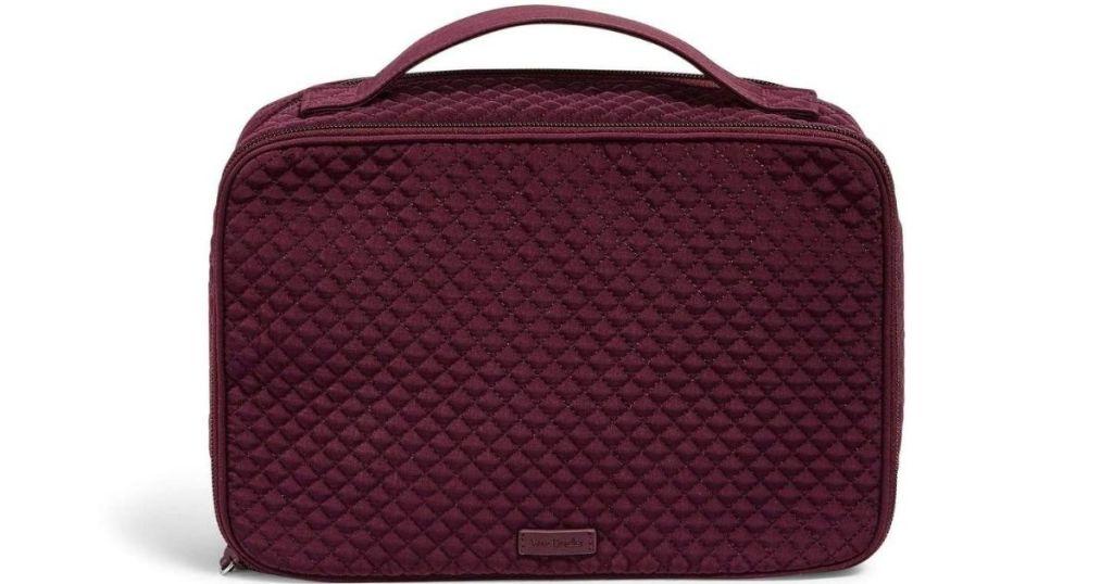 burgundy Vera Bradley makeup bag
