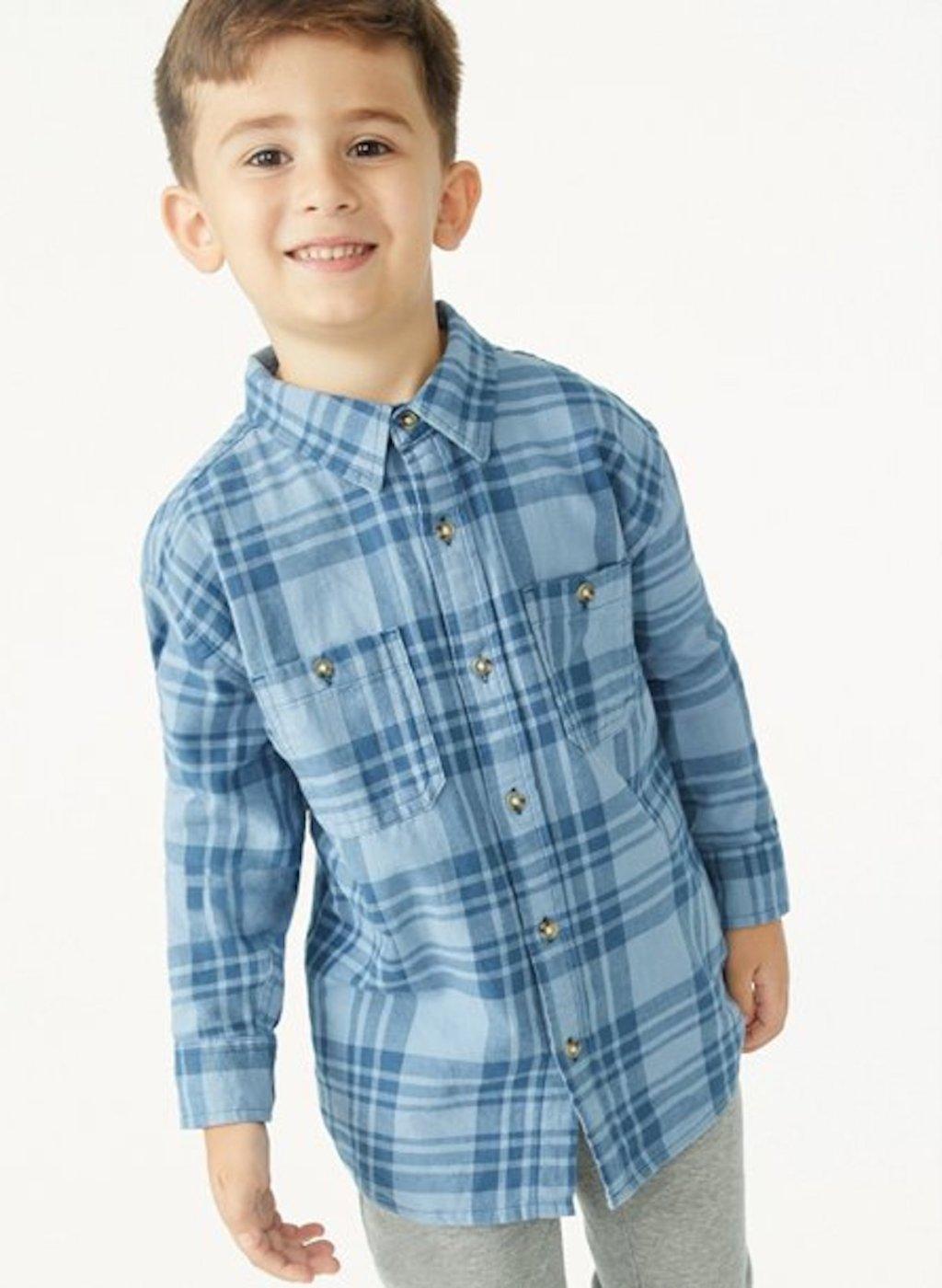 stock photo of boy wearing blue plaid shirt