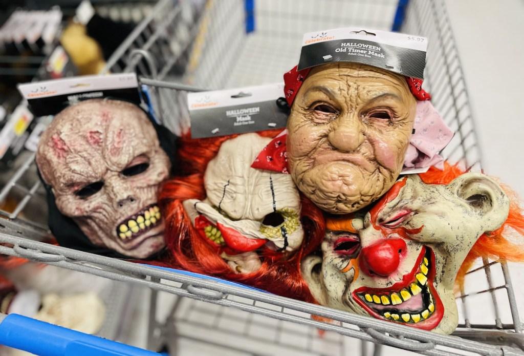 creepy scary halloween face masks in walmart shopping cart