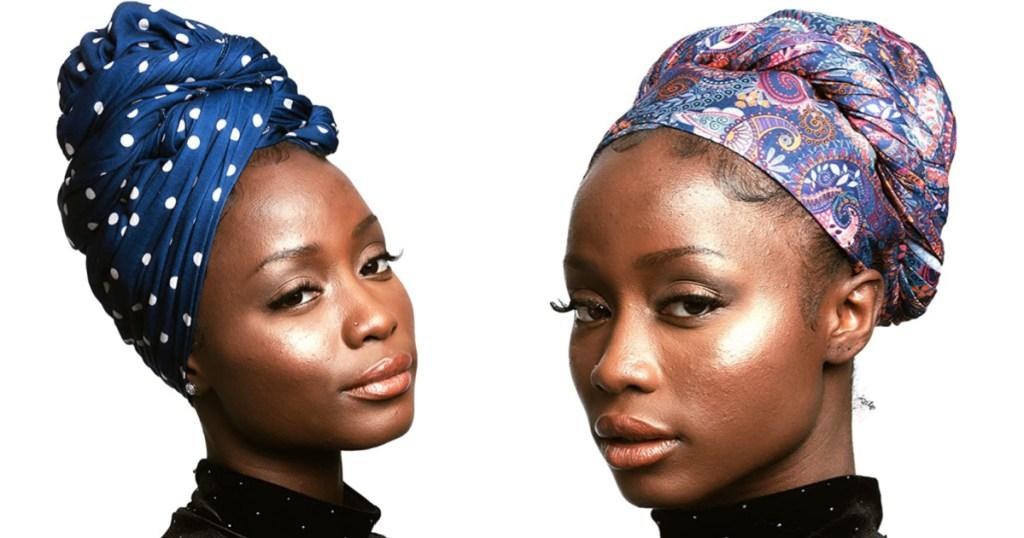 two women wearing headwraps